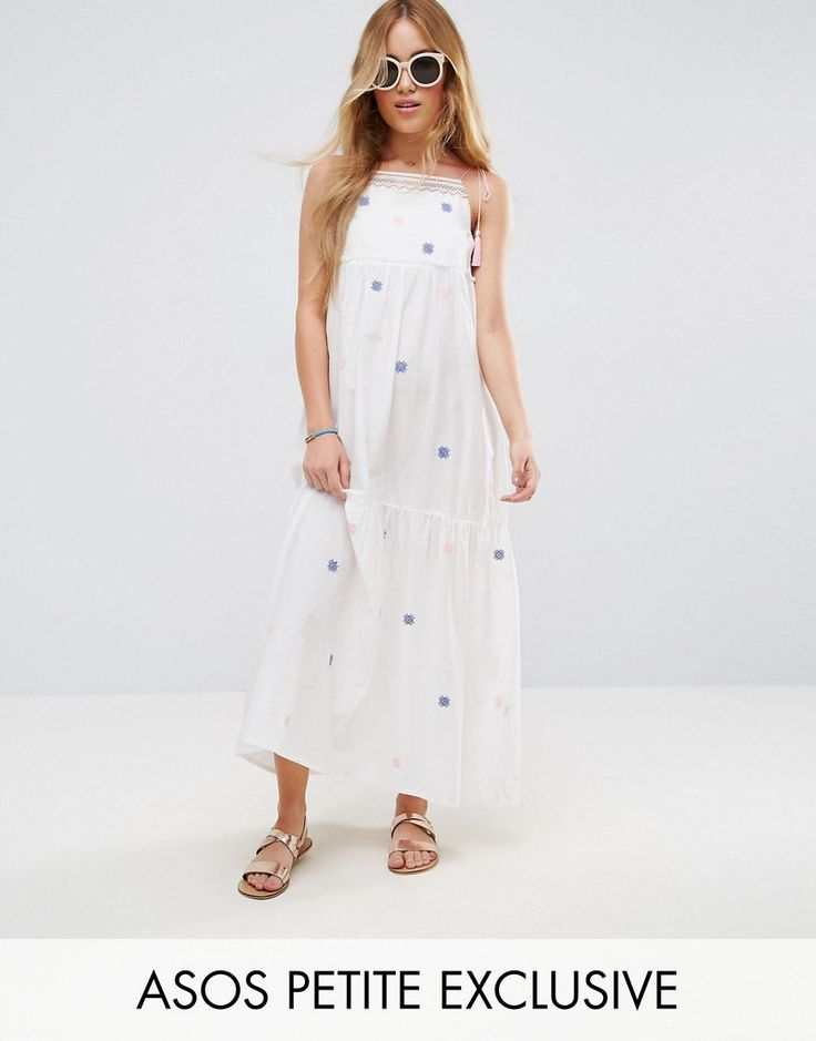 ASOS PETITE Cotton Maxi Dress with Embroidery and Tassels - White