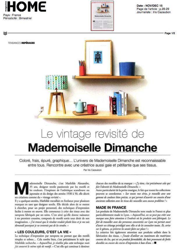Mademoiselle Dimanche Home Novembre Decembre 2015