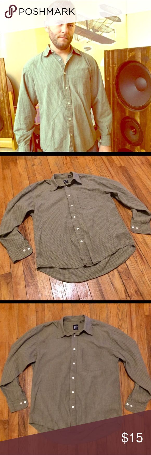 CCO Sale⚡️GAP Sage Green Button Down LS GAP Men's Button Down LS Top in Sage Green Plaid Print - Flawless. Size M & true to size.  Indian Summer Closet Clear Out Sale, Through Oct 31st!!! Marked down ALL summer items–along with most of the rest my things too!  Bundle Your Likes for serious savings!  Bundles still get 15% More Off & a FREE Gift! Ship Same or Next Day! Questions? Just reach out!  Happy Poshing! 🌞 GAP Shirts