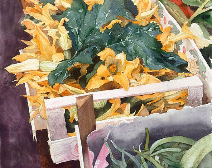 Flores de calabacín, acuarela Giclée impresión