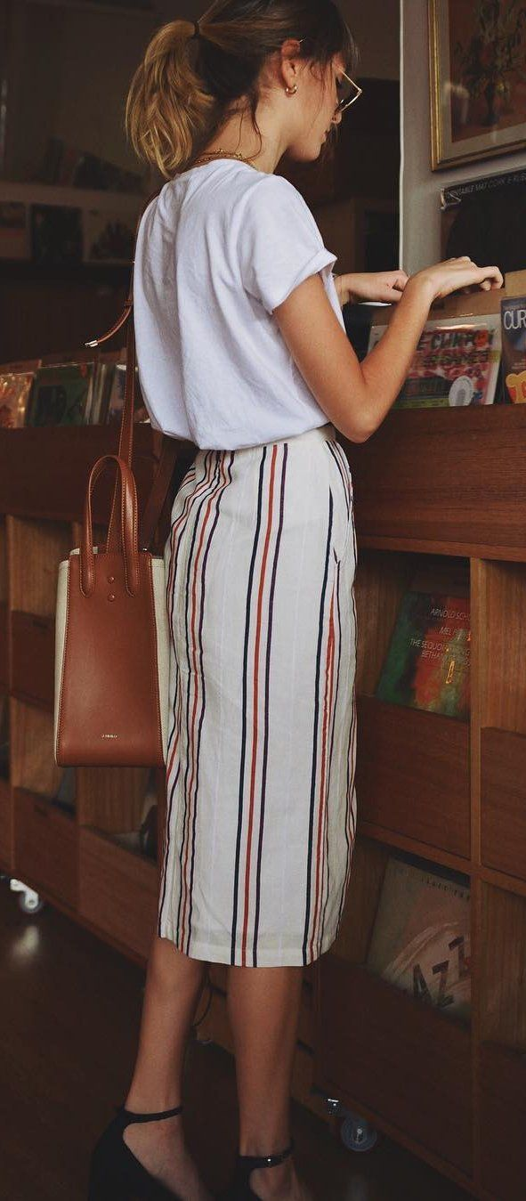 #summer #outfits  White Tee + Striped Maxi Skirt + Black Pumps