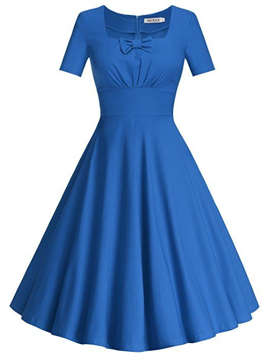 MUXXN Women's Rockabilly Style Knee Length Stretch Casual Daily Dress (Black L)