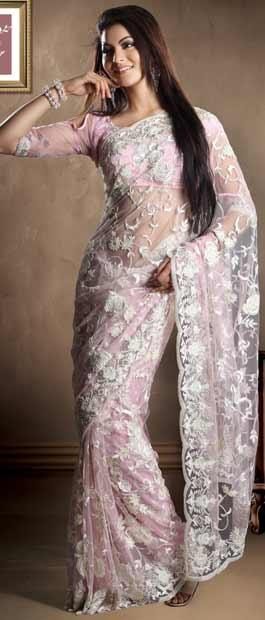 Light #Pink Net #Saree With #Blouse @ $605.43 | Shop Here: http://www.utsavfashion.com/store/sarees-large.aspx?icode=skk13435