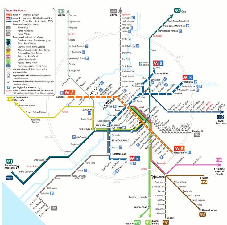 Gracias a nuestro mapa de transportes podrás ver todas las paradas de las lineas del metro y trenes en Roma y moverte de forma rápida y económica.