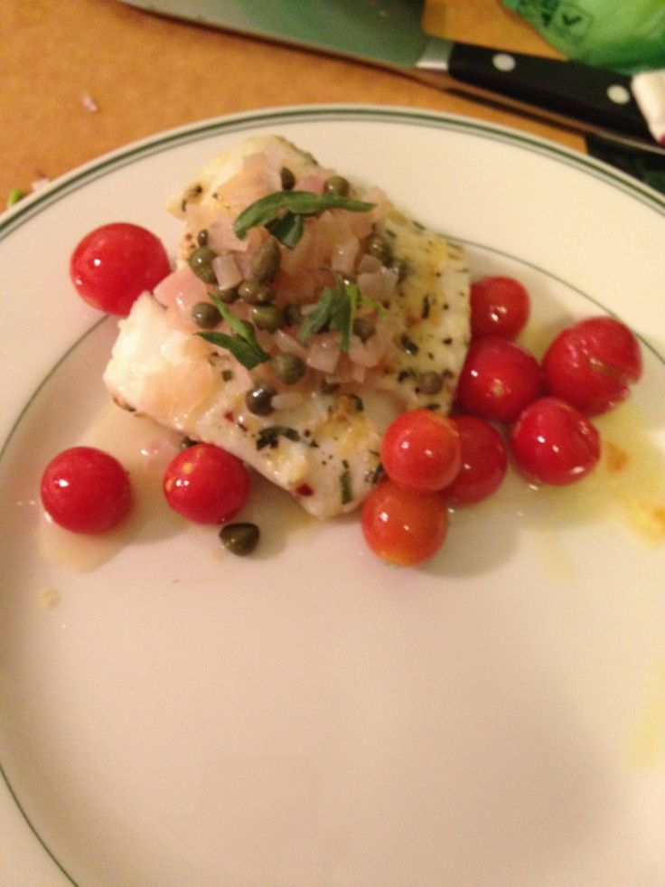... Chef:+Pan+Roasted+Halibut+with+Cherry+Tomatoes+and+Caper+Buerre+Blanc