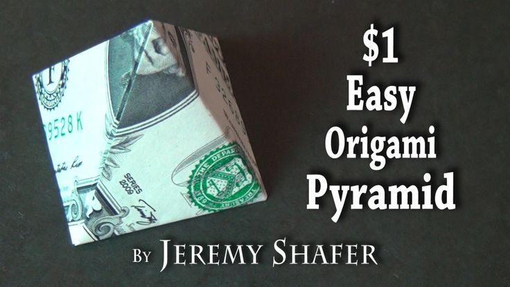 One Dollar Easy Origami Pyramid - Published on Feb 19, 2014 [Simple] How to fold an easy, collapsible pyramid from a $1 dollar bill.