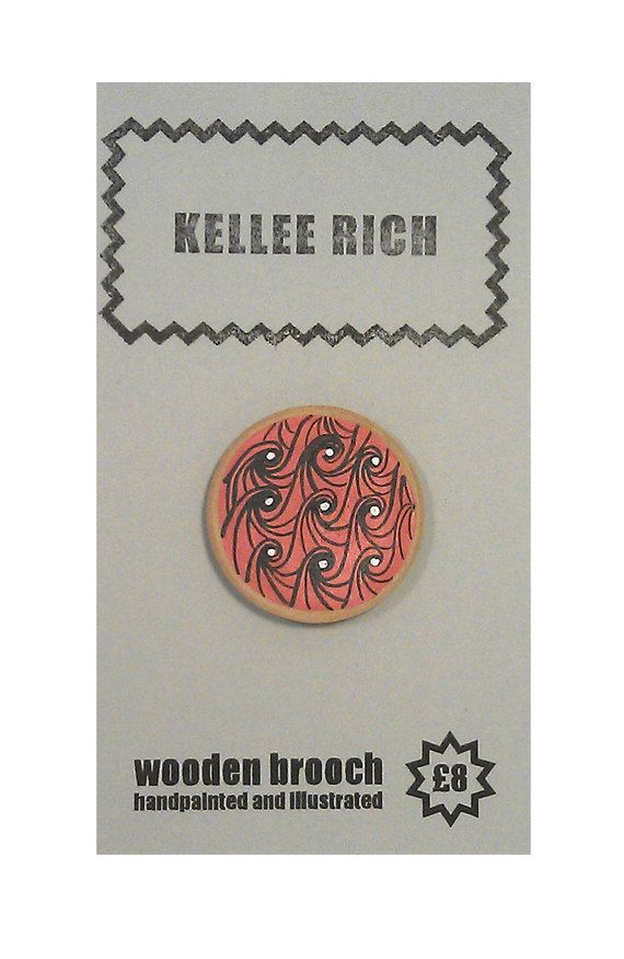 handpainted wooden brooch  pin  badge  waves sea red by KELLEERICH, £8.00 #brooch #handmade #handpainted #illustrated #wood #pin