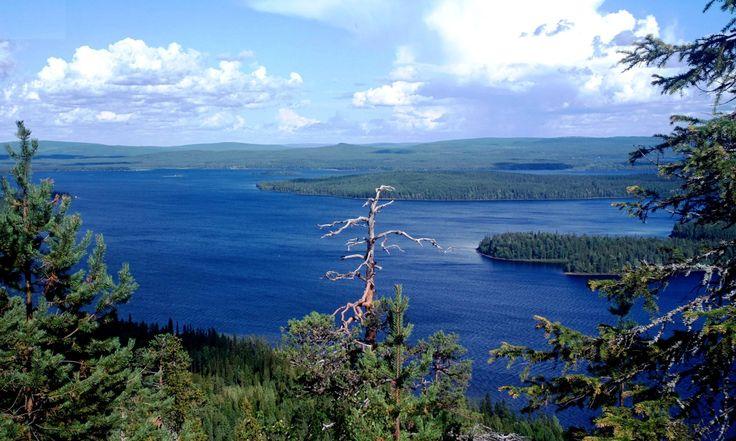 El Lago Miekojärvi cruzado por la línea del Círculo Polar Ártico en verano en Pello, Laponia.
