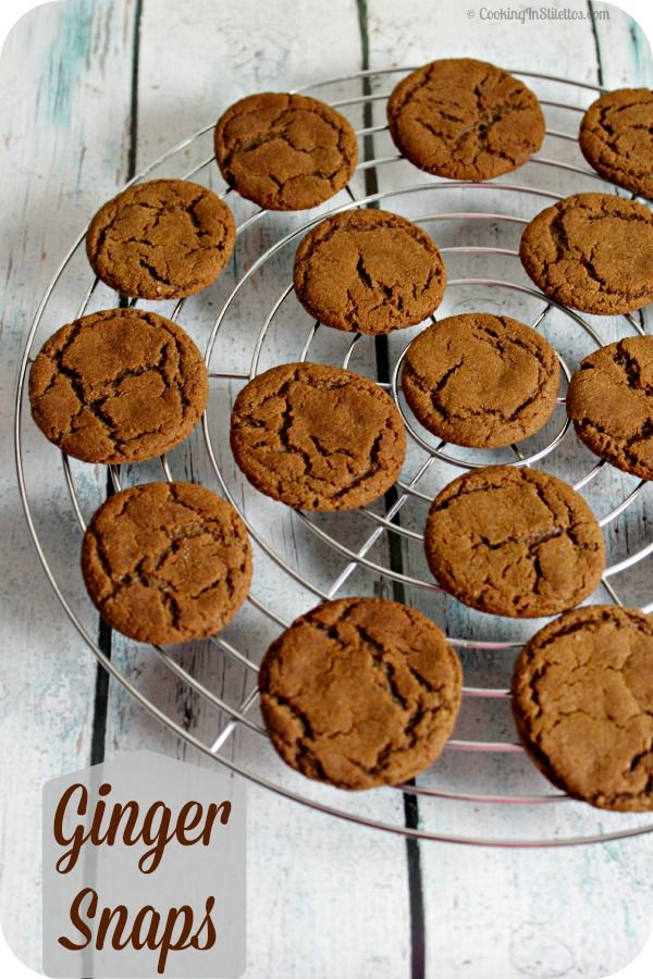 Sweetly spiced Ginger Snaps will bring back memories of holidays long past. These Ginger Snaps are a must for your cookie jar! | Cooking In Stilettos http://cookinginstilettos.com/ginger-snaps/