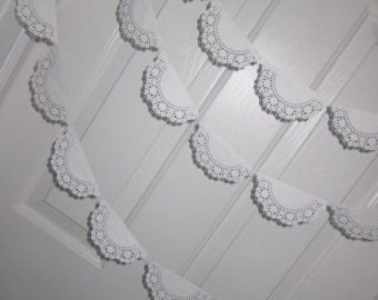 Doily Garland, Doily Bunting, Paper Garland, Mother's Day Decorations, Tea Party Decorations,  Brunch Decorations