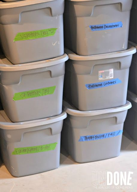 33+ Helpful Moving Tips Everyone Should Know ~ Use bins for seasonal items so you can easily identify what needs to be stored in the garage....
