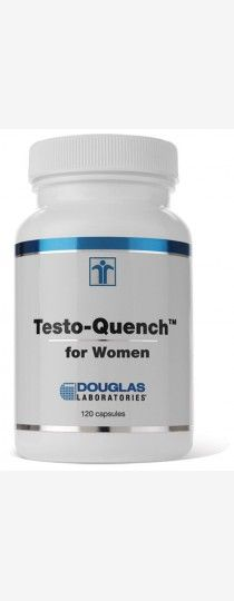 TestoQuench for Women by Douglas Laboratories  Hormone Specific Formulation. TestoQuench for Women, provided by Douglas Laboratories is a Hormone Specific Formulation of antiandrogens and androgen antagonists. This combination is designed to support the healthy function of skin, hair, heart, breasts, vagina and other testosterone sensitive tissues in women