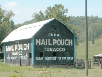 A Mail Pouch Tobacco Barn, or simply Mail Pouch Barn, is a barn with one or more sides painted from 1890 to 1992 with a barn advertisement for the West Virginia Mail Pouch chewing tobacco company (Bloch Brothers Tobacco Company), based in Wheeling, West Virginia. At the height of the program in the early 1960s, there were about 20,000 Mail Pouch barns spread across 22 states, such as Michigan, Ohio, Indiana . .
