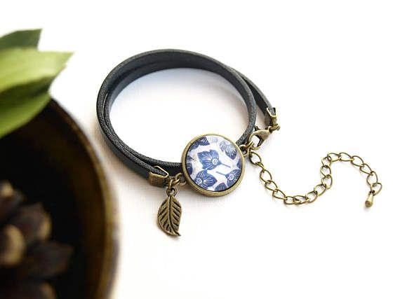 Bracelet motif ethnique fleurs bleu TAILLE UNIQUE Ajustable