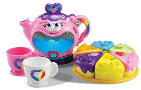 """Have her host her very own tea party with this cute LEAPFROG MUSICAL RAINBOW TEA SET. The tea kettle lights up in 6 colors and plays 7 tea-time songs. She can also serve her guests one of 6 pieces of cake. She can also match the cake to the """"flavor"""" of tea you've chosen.      best gifts for 1 year old girl 