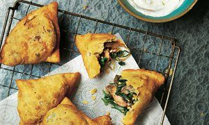 Photograph of Yotam Ottolenghi's mushroom, spinach and paneer samosas