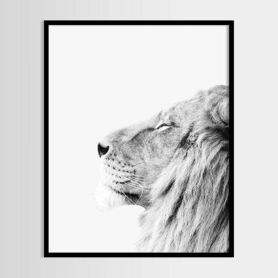 Lion Geometric Print Wall Art Print SCANDI ART Monochrome Print Nursery Office