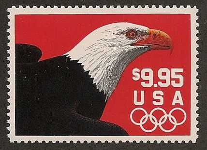 This US stamp shows that simple is often best.  This Bald Eagle on a red background paid the Express mail rate at time of issue though the cost for express mail has doubled since then.