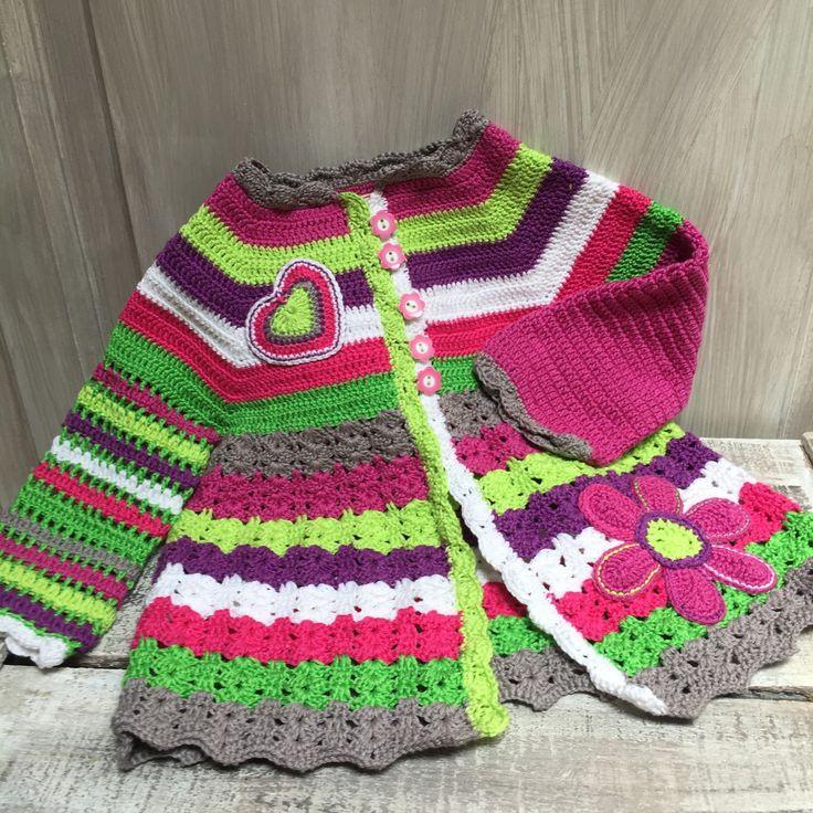 Gilet petite fille au crochet taille 18 mois : Mode Bébé par manou-zaza-little-factory