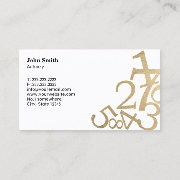 Actuary Modern Gold Numbers Business Card Zazzle Com Gold Number Business Cards Cards