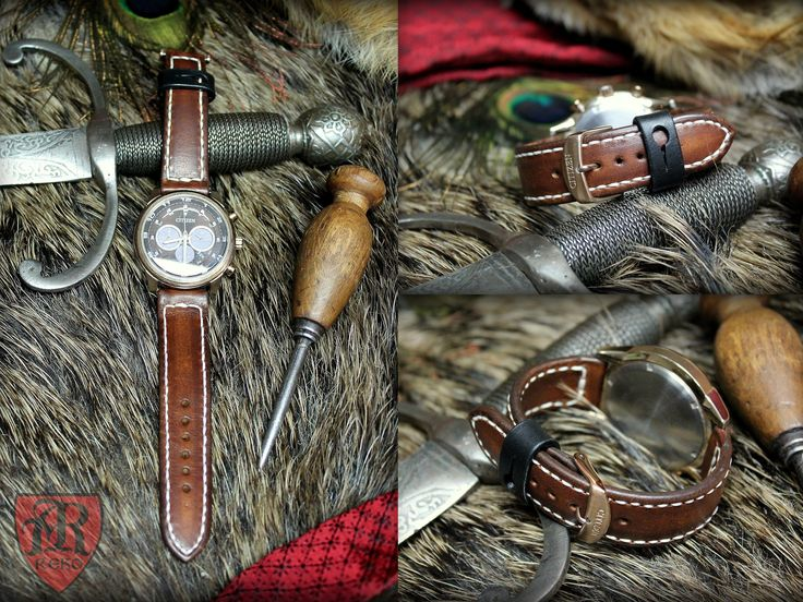 Hand made leather strap for the watch. Made by Pracownia REKO