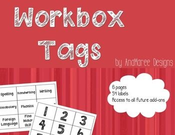 Workbox system tags. Use with double sided velcro dots to label drawers and folders. Can also be used as a visual tracker of work completed for the day.