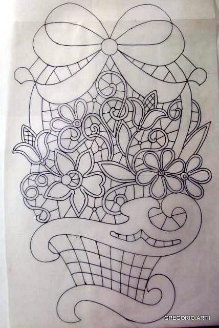 ROMANIAN - POINT LACE: BASKETS (drawings)