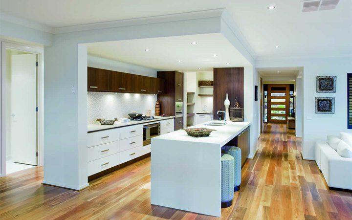 Kitchen, dark cabinets, timber floor