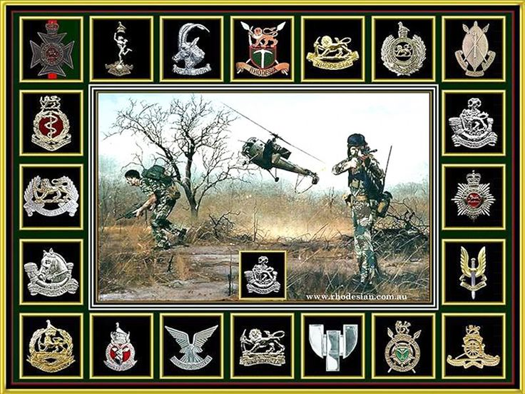 Badges of Rhodesian Army units around photograph of troops on ground after debussing heliicopter