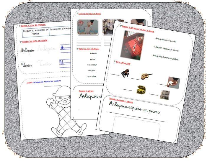 étude de l'album arlequin ou les oreilles de venise cycle 2 fiches de lecture+référents + exercices http://cliscachart.eklablog.com/lecture-arlequin-ou-les-oreilles-de-venise-a107010134