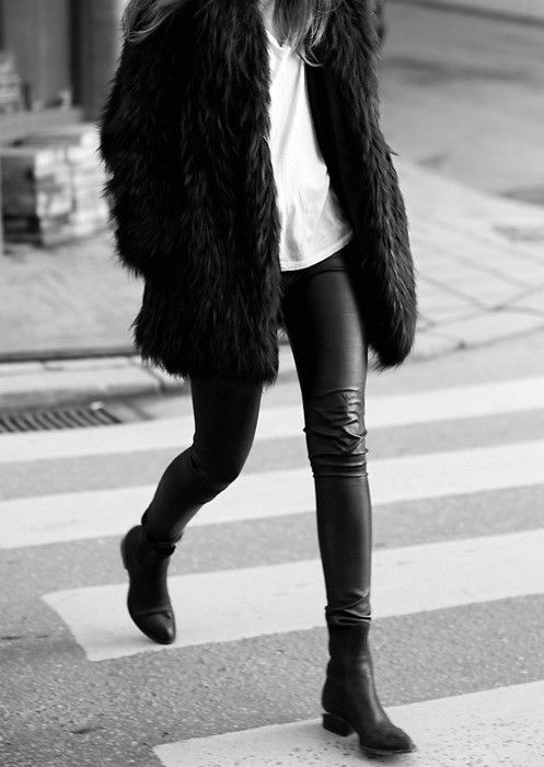 Leather pants, faux fur.