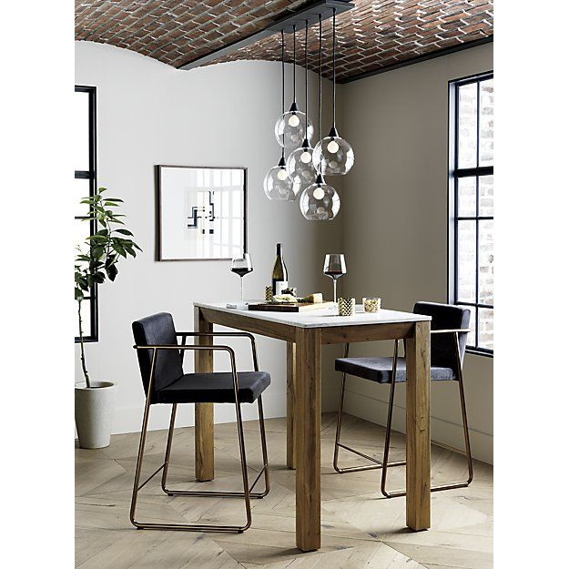 """$200 - industrial modern chandelier suspends five glass globes from black iron canopy.  Pendants stagger in length on black cords 15"""" to 29"""".  Great look with filament bulbs.  Hanging hardware included."""