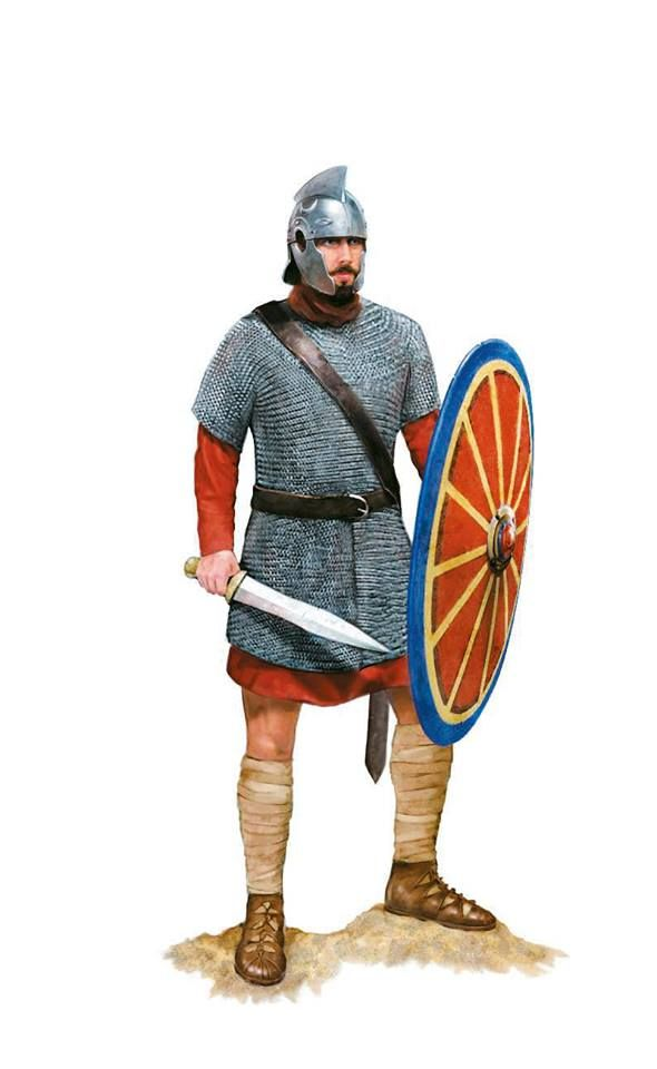 Roman soldier of the Lanciarii Seniores, a Legio Palatina, Roman army during the Battle of Adrianople, 378 AD. Artwork by Tom Croft.
