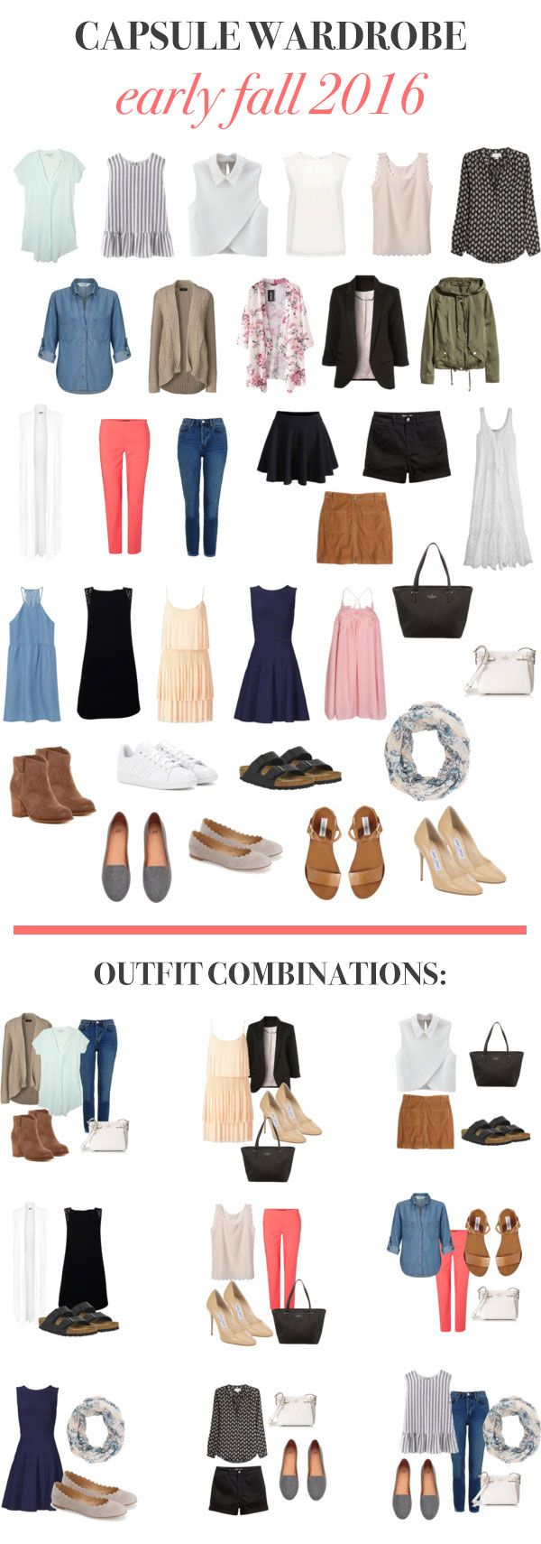 Capsule wardrobe for the early fall, along with some outfit ideas from this set of 33! Excited to put a *real* capsule wardrobe together for the fall starting Oct. 1. Here's why I decided on a mini version: http://anokay.life/blog/2016/9/15/capsule-wardrobe-early-fall-2016 #capsulewardrobe #fallcapsulewardrobe #33for3