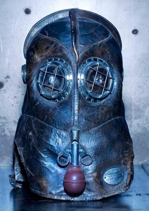 Vintage firefighter helmet is a steampunk inspiration - Boing Boing. Looks more like a diving mask! ;)