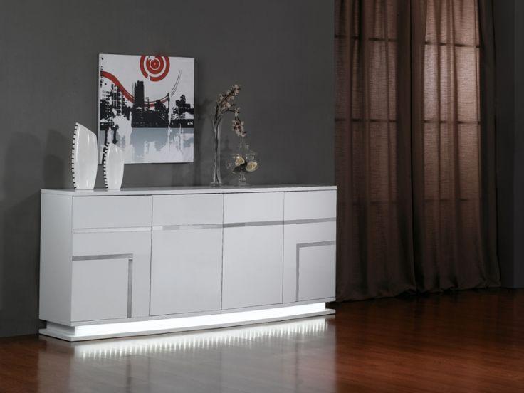 Buffet LUMINESCENCE IV - MDF laqué blanc et LEDs - 4 portes