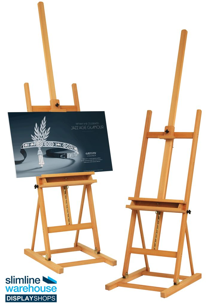 Studio Easels with Natural Finish! The art easels are made of beechwood. The natural finish highlights the wood grain, creating an impressive display that will help draw attention towards displayed items with ease in any environment.