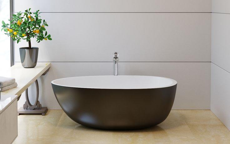 Spoon 2 Отдельностоящая Каменная Ванна Черно-Белая 169х90 см