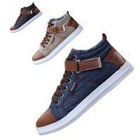 2015 Весенняя обувь Новые мужские туфли досуга для  молодежи  Модные высокие обуви  Дышащие кеды холста Стиль англия  Лоскутные плоские ботинки Смешивающие цвета
