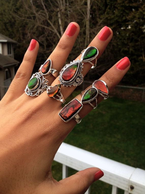 Ammolite Rings Natural Ammolite Rings Gift Mothers by KJewelry2015
