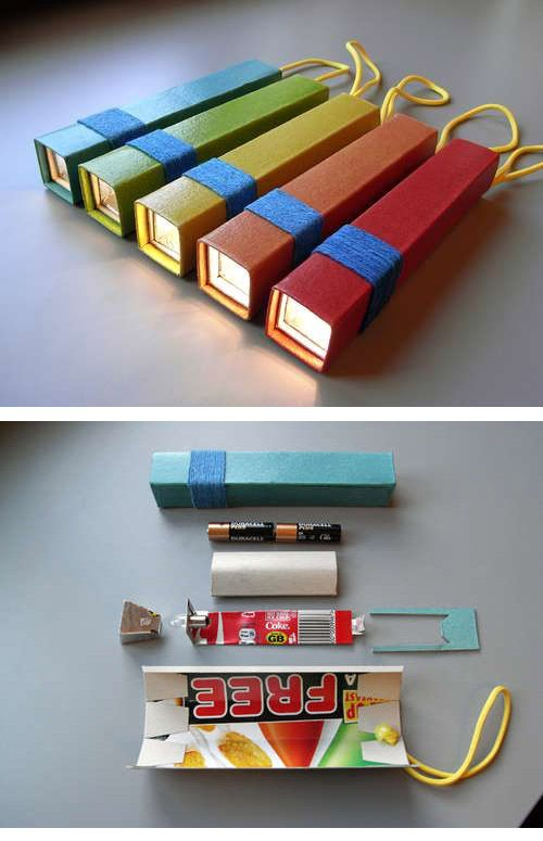 Craft DIY: Flashlight made from coke can and cereal box. Project for kids?