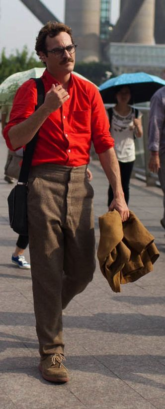 In the future, apparently men will all wear awful, awful pants. Joaquin Phoenix in Spike Jonze;s 'Her' (2013). Costume Designer: Casey Storm.