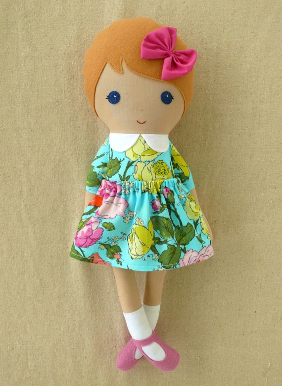 Fabric Doll Rag Doll Girl in Blue Floral Dress
