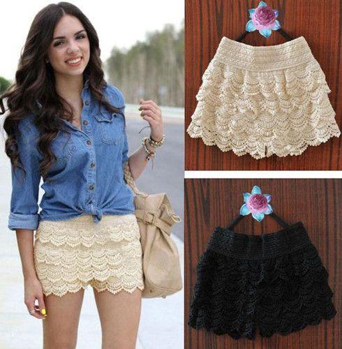 Womens Girls Korean Sweet Cute Crochet Tiered Lace Shorts Skorts Short Pants | eBay