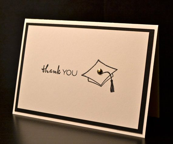 This set of 8 graduation thank you cards with envelopes. It can be matted with lots of colors (shown in black). Please pick you color on