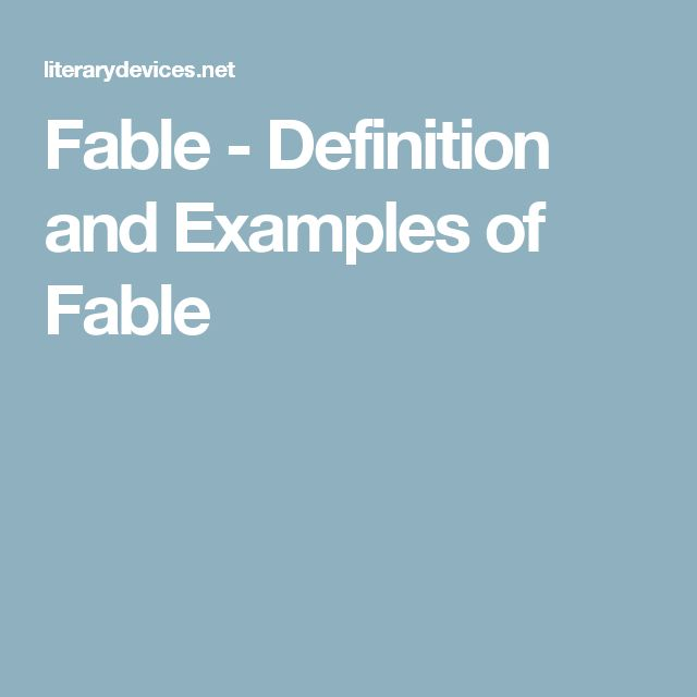 Fable - Definition and Examples of Fable