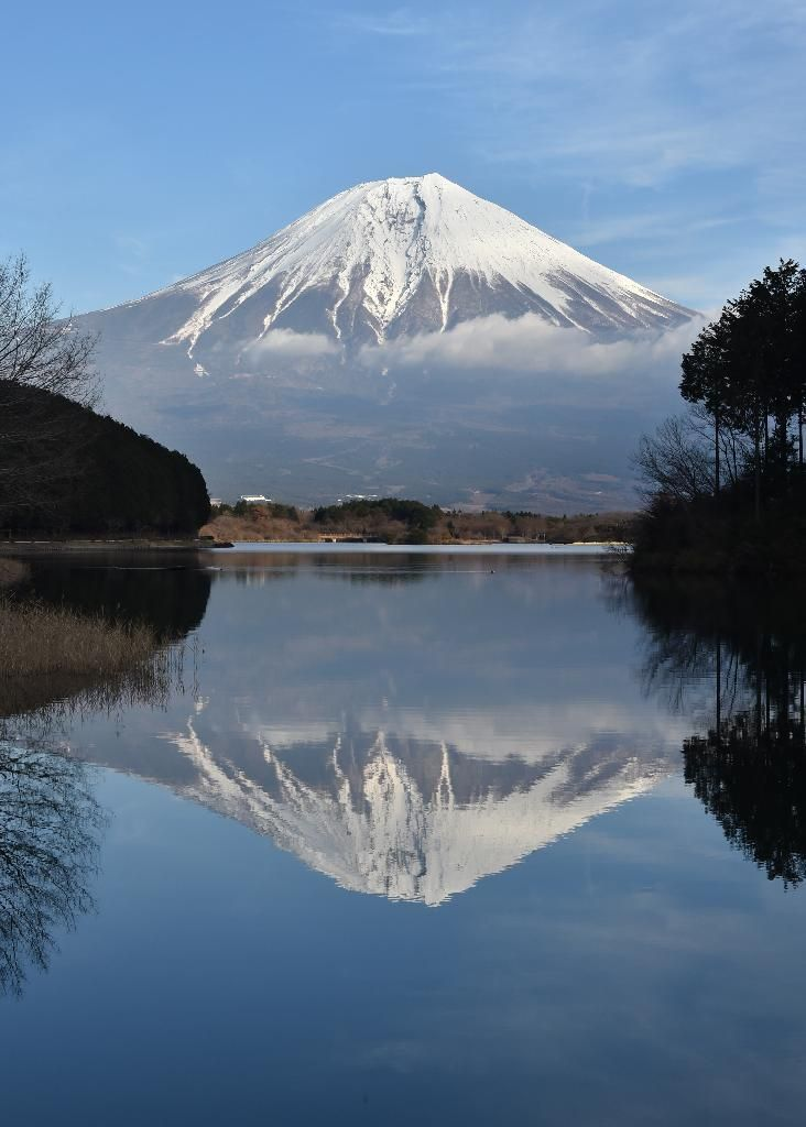 Reflection of Mt. Fuji on Lake Tanuki, Shizuoka  田貫湖で出会った逆さ富士=静岡県富士宮市