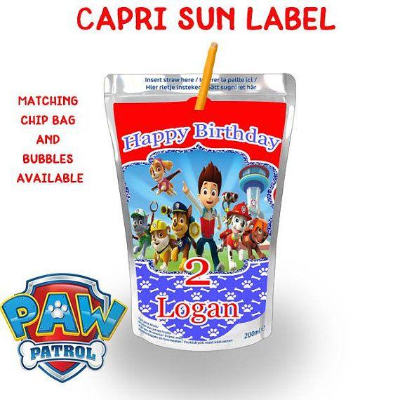 Paw Patrol Capri Sun Labels Paw Patrol Juice Labels Paw Patrol Birthday Paw Patrol