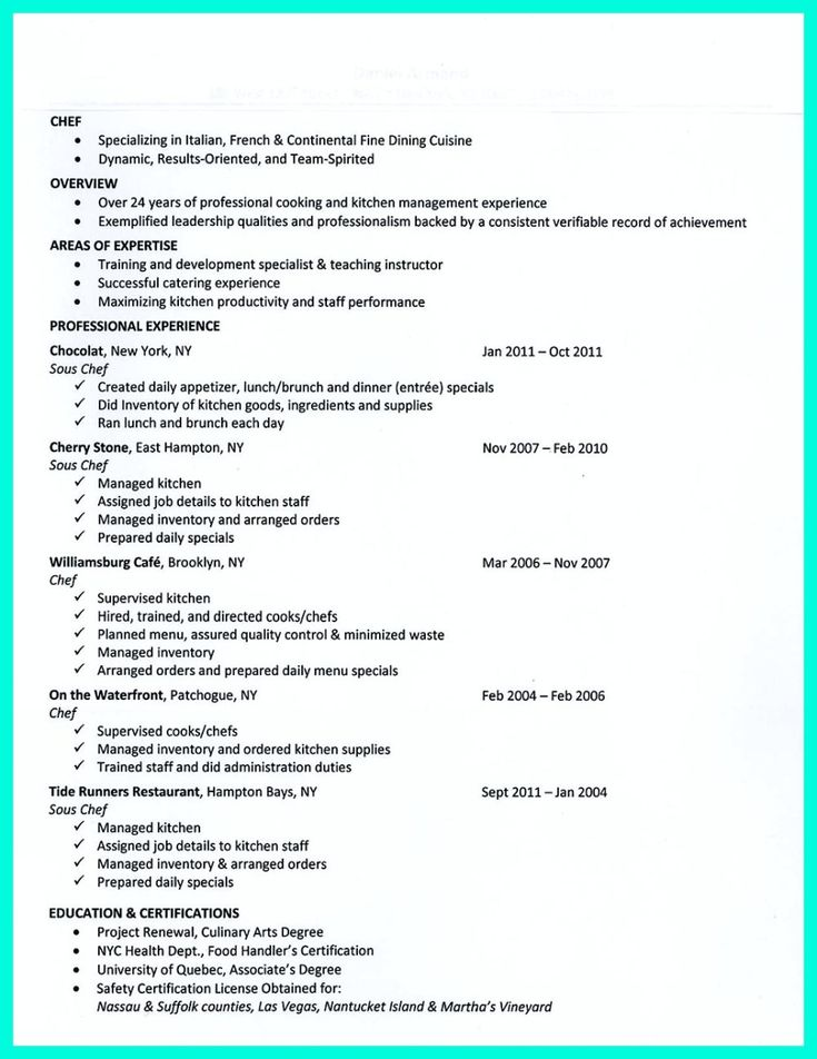 Export Assistant Sample Resume Awesome Chef Resumes That Will