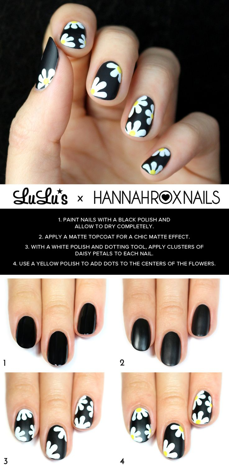 What's chic and matte, and floral all over? Our Black Daisy Nail Tutorial of course! Get the look with our easy step-by-step guide.
